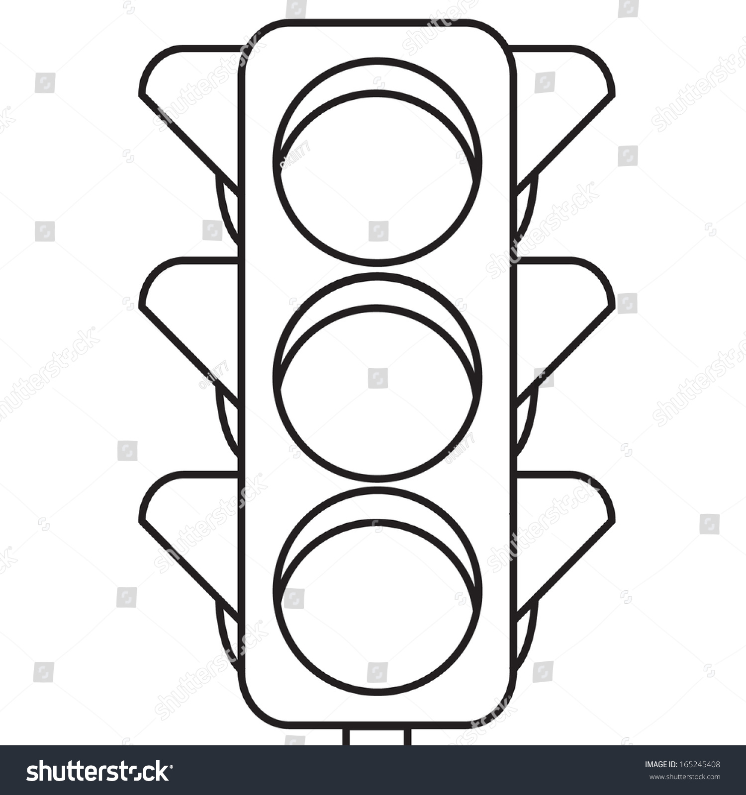 Stock Vector Traffic Lights Outline on Yellow Objects Clipart For Kids