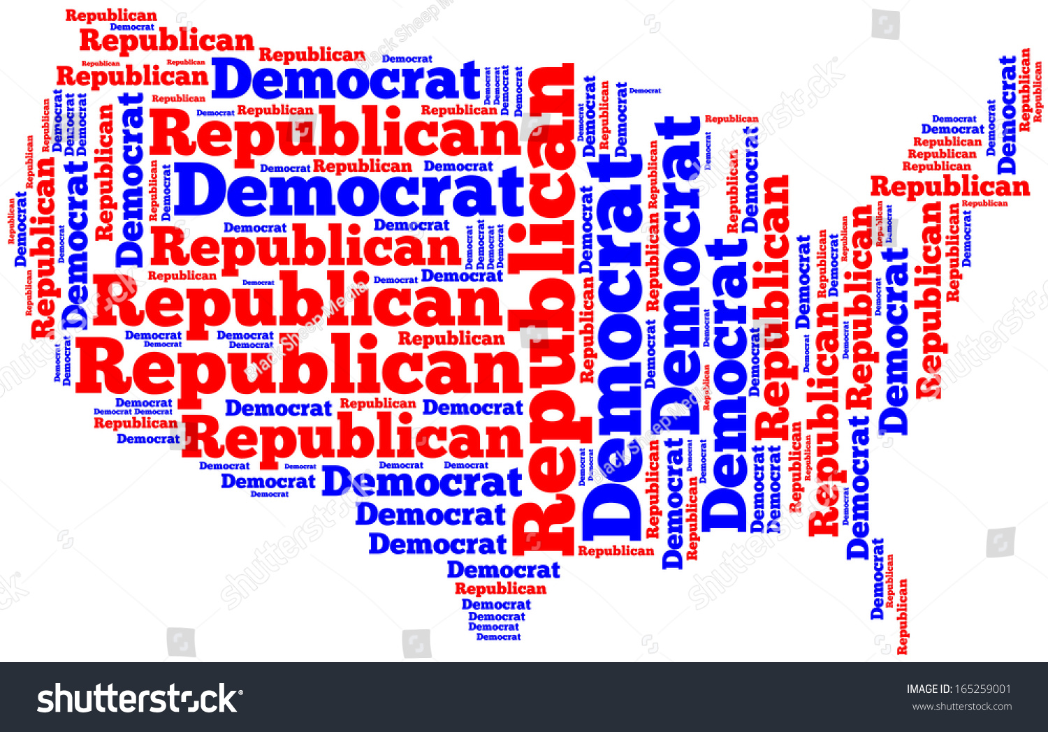 Word Cloud Map United States America Stock Illustration - Conservative dominance states in the us map