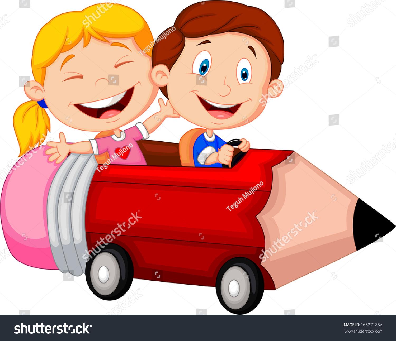 Happy children riding pencil car