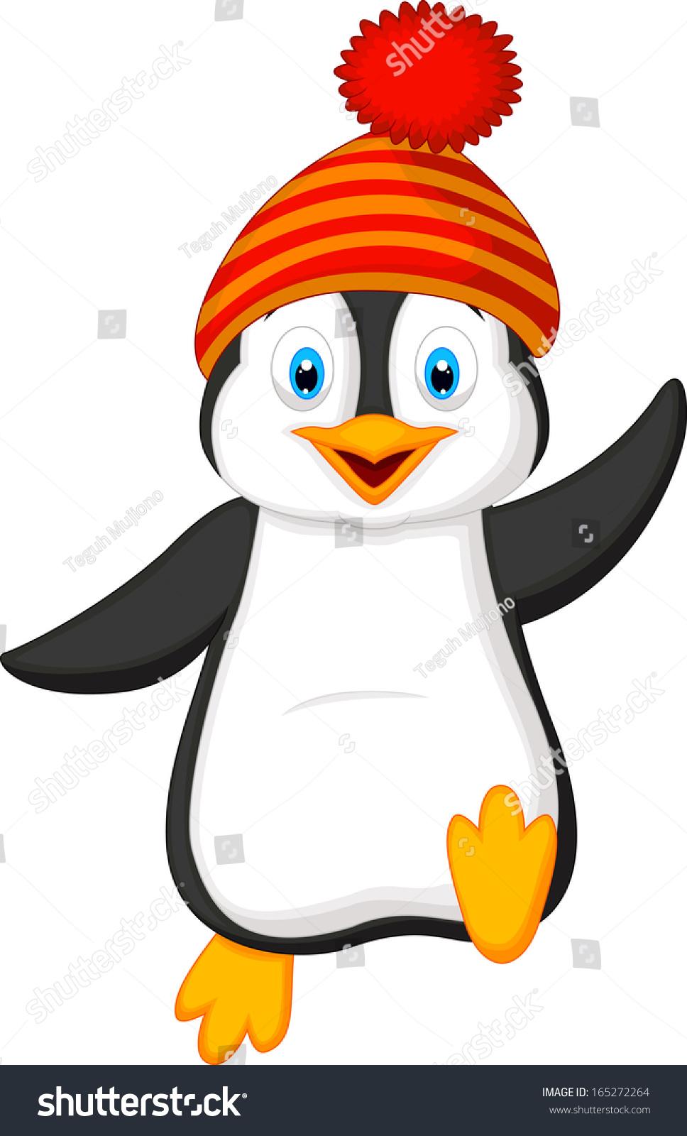 Cute Penguin Cartoon Wearing Red Hat Stock Vector ...