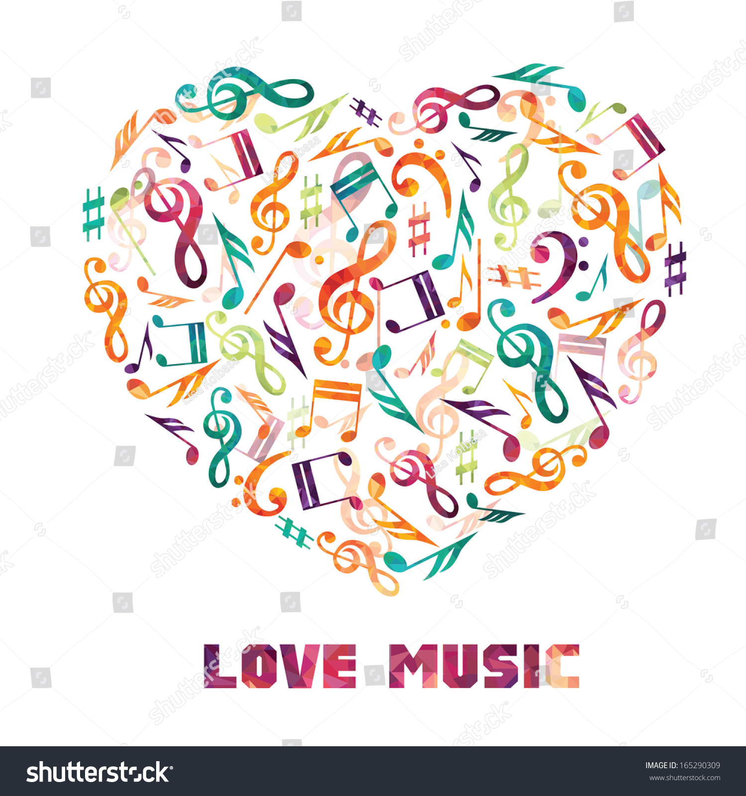 Colorful Music Background Heart Notes Stock Vector ...