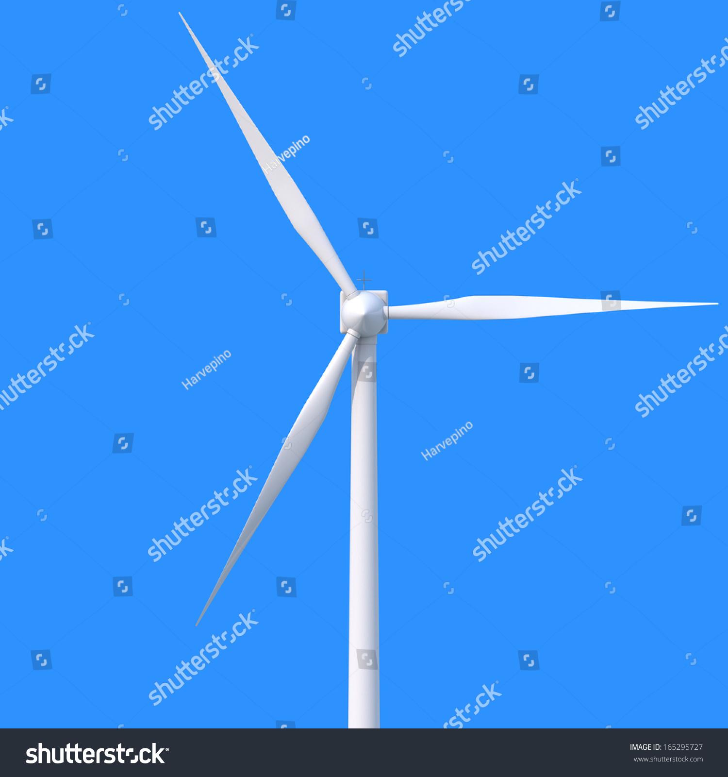 Wind Power Generator Blue Background Stock Illustration