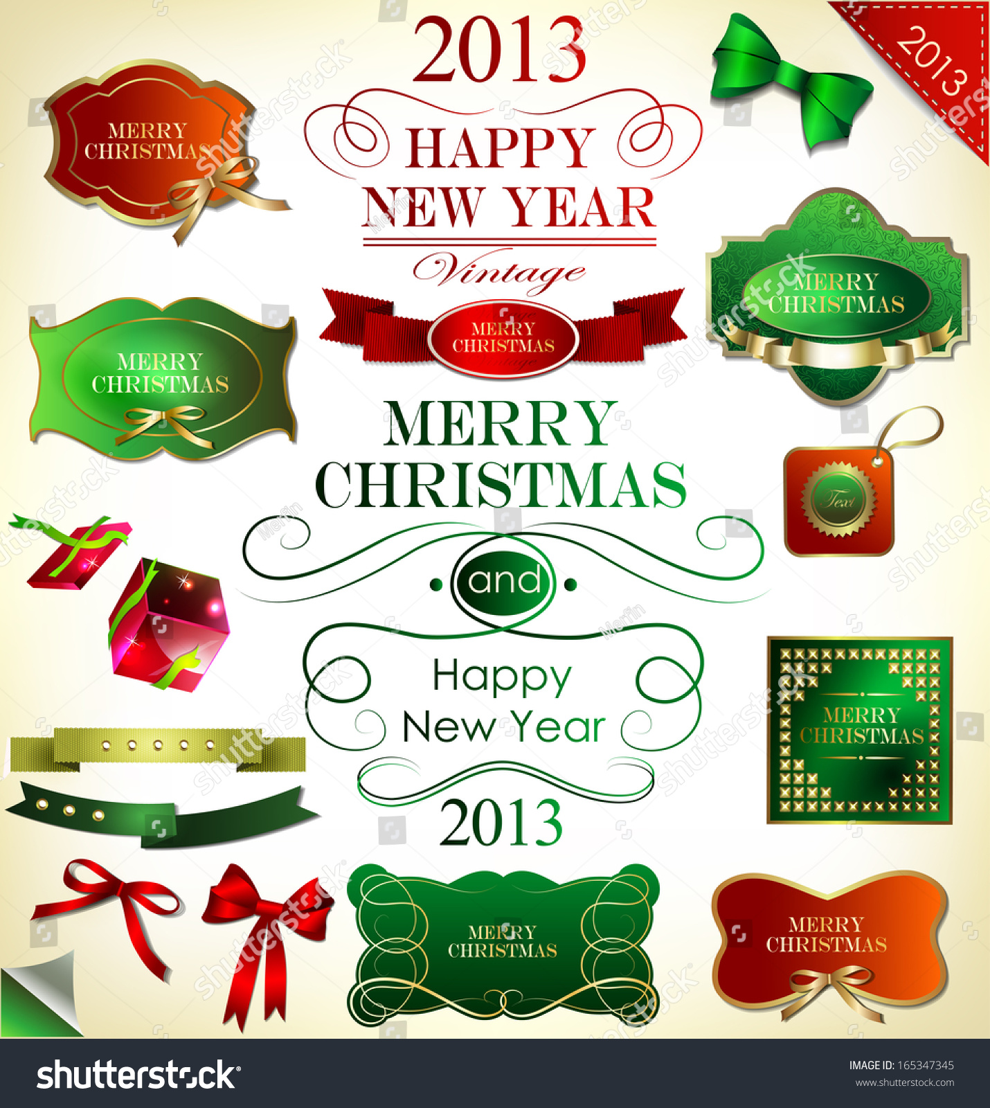 Christmas Tree Decoration Elements: Christmas Decoration Collectionchristmas Tree Calligraphic