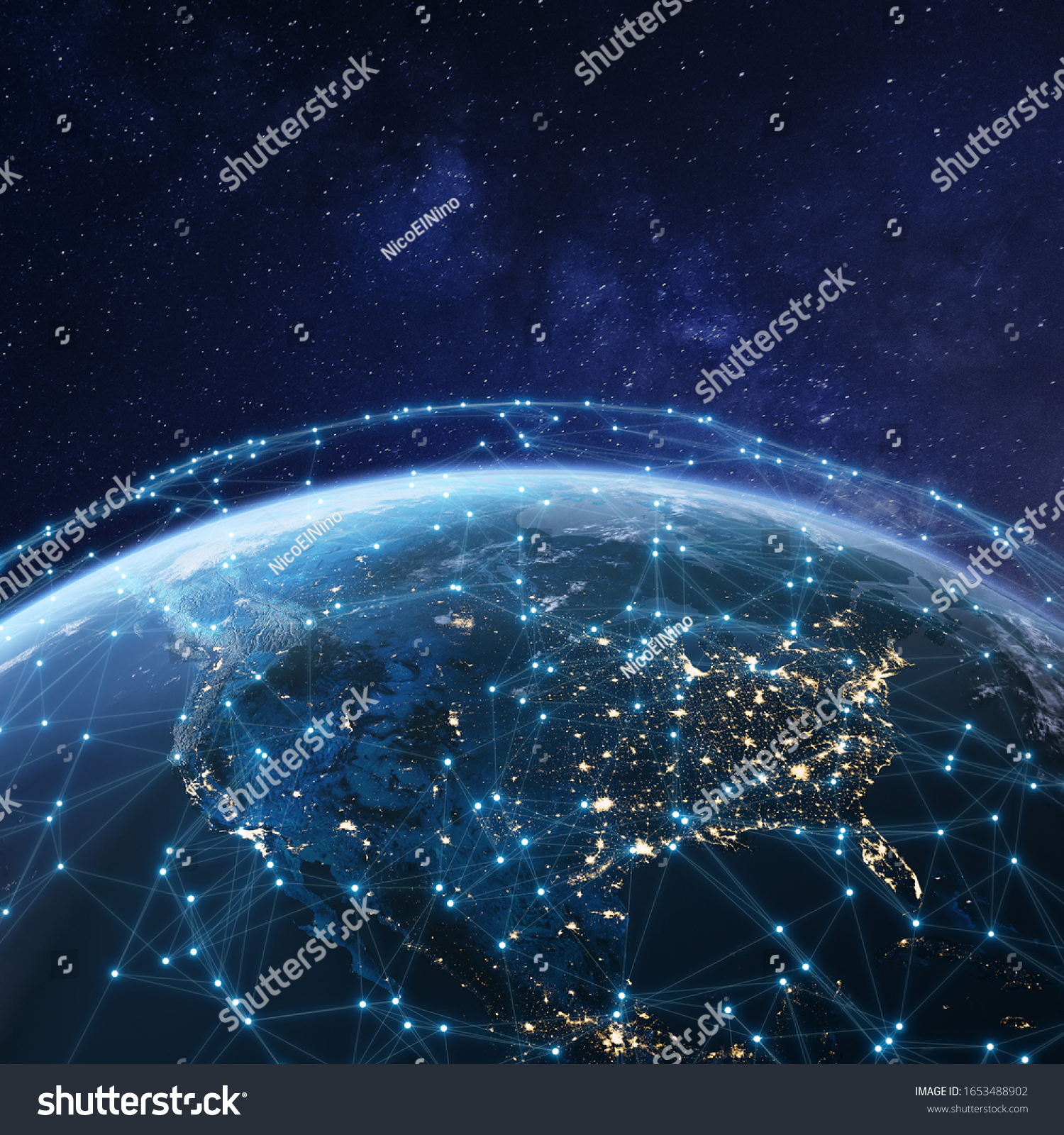 Telecommunication network above North America from space by night with city lights in USA, Canada and Mexico, satellite orbiting Planet Earth for Internet of Things IoT and blockchain technology #1653488902