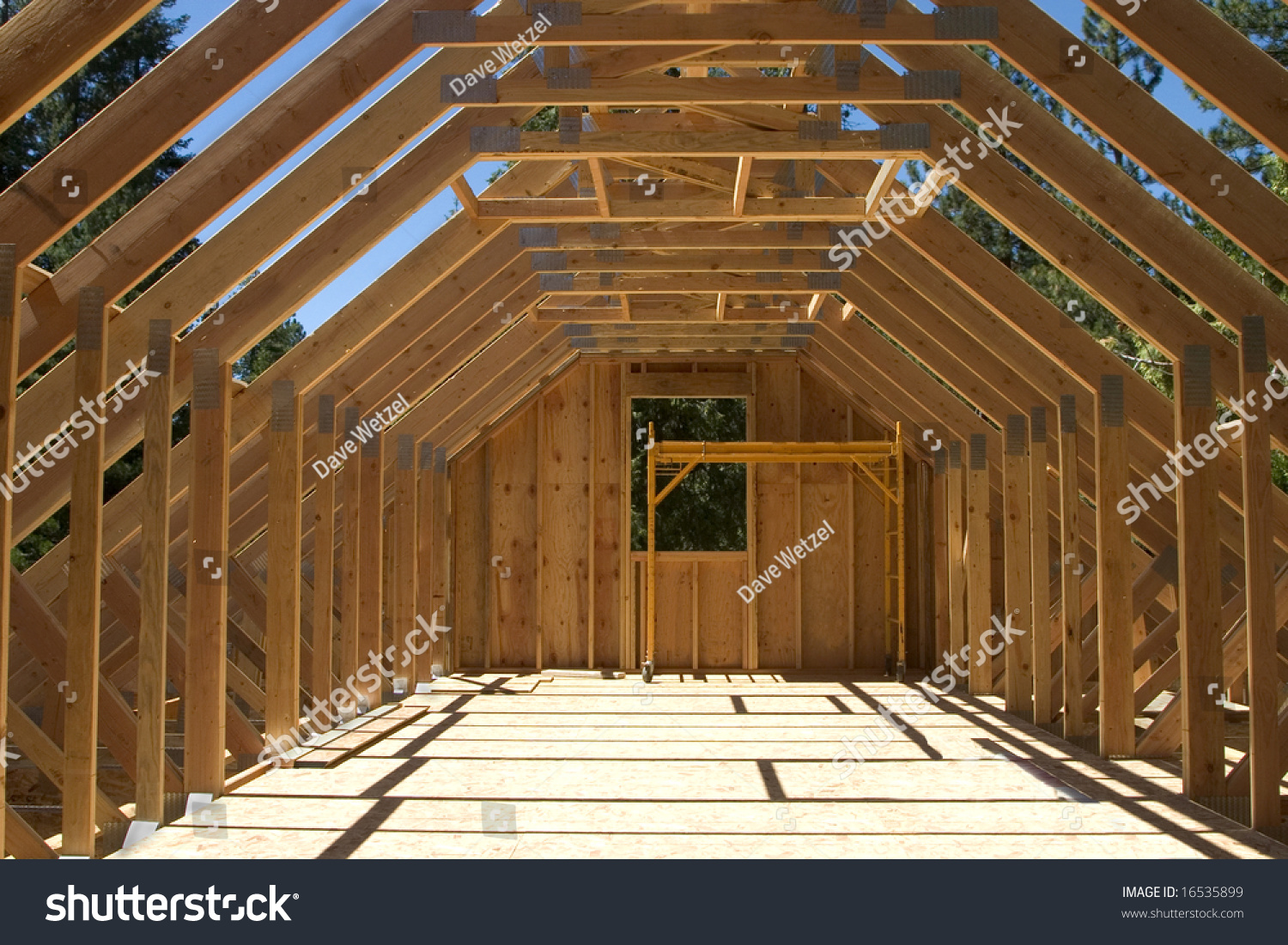 Roof Truss System Over Garage House Stock Photo 16535899