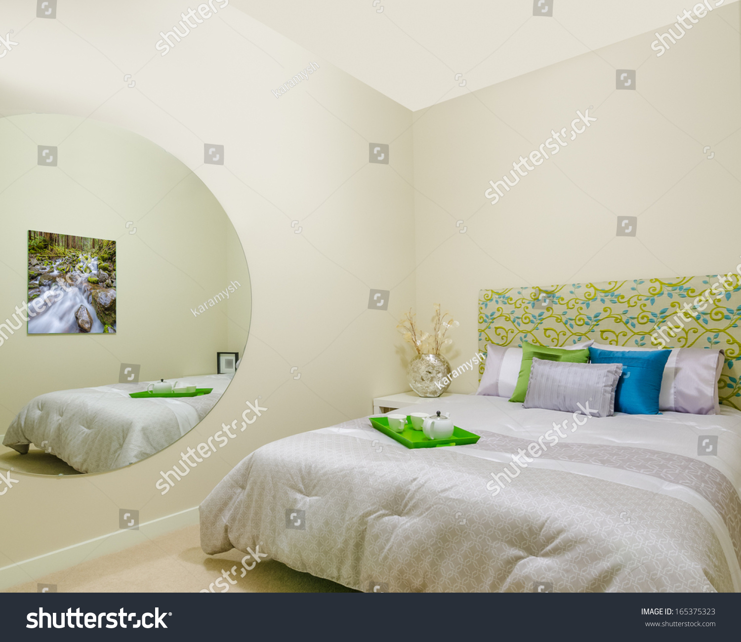 Beautiful modern home hotel bedroom interior stock photo for Official interior design