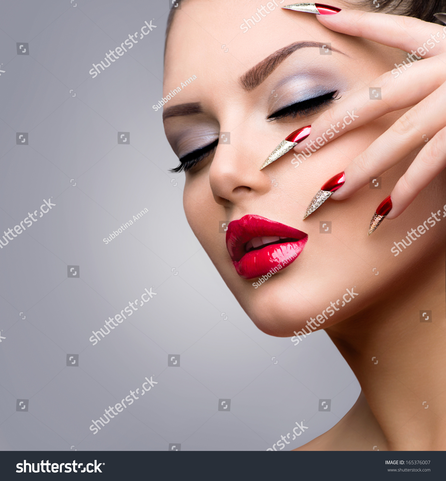 Fashion Beauty Model Girl Manicure Makeup Stock Photo (Edit Now ...