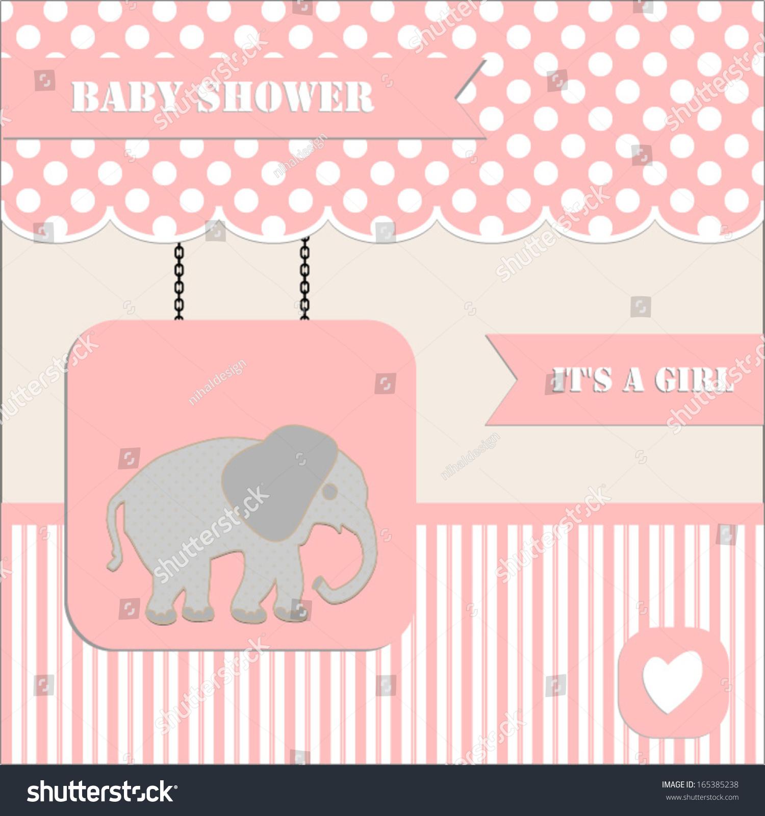 Baby Shower Invitation Baby Girl Polka Stock Vector Royalty Free
