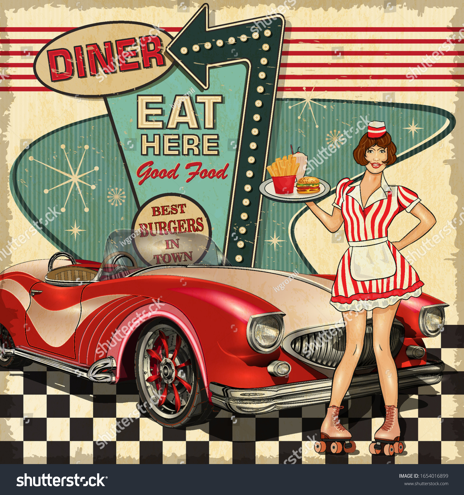 Vintage Diner Poster Traditional American Style Stock Vector Royalty Free 1654016899