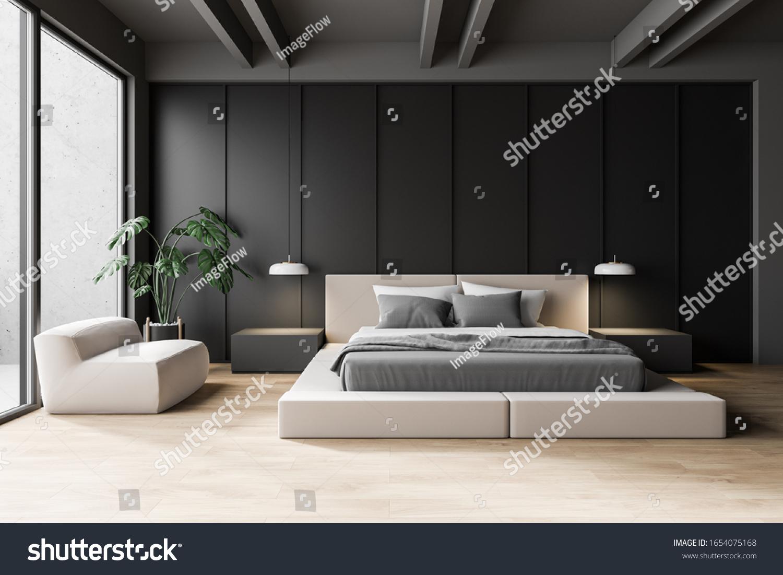 Luxury Modern Master Bedroom Interior Dark Stock Illustration 1654075168