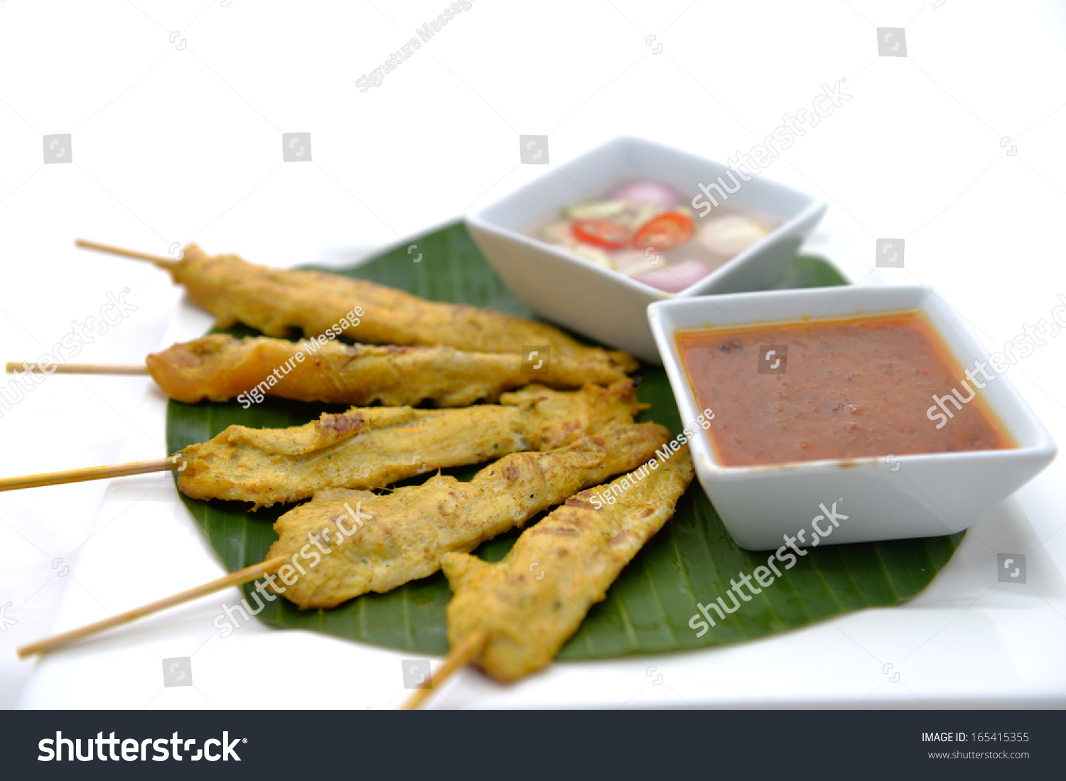 Grilled Pork Satay With Peanut Sauce And Vinegar Stock Photo 165415355 ...
