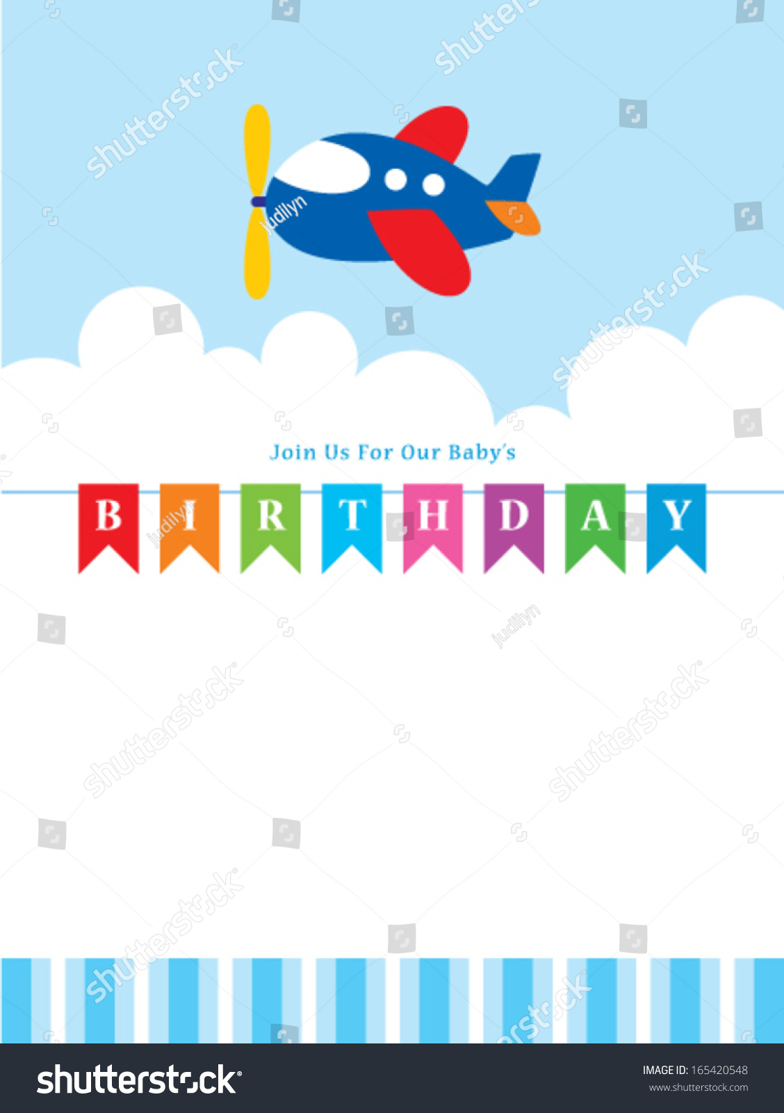 Children Birthday Invitation Cute Airplane Stock Vector (Royalty ...