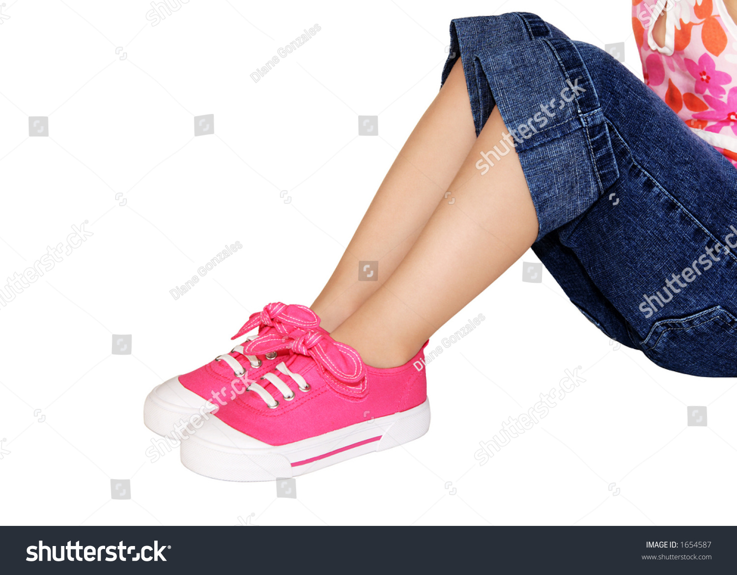 Little Girls Play Clothes Shoes Stock