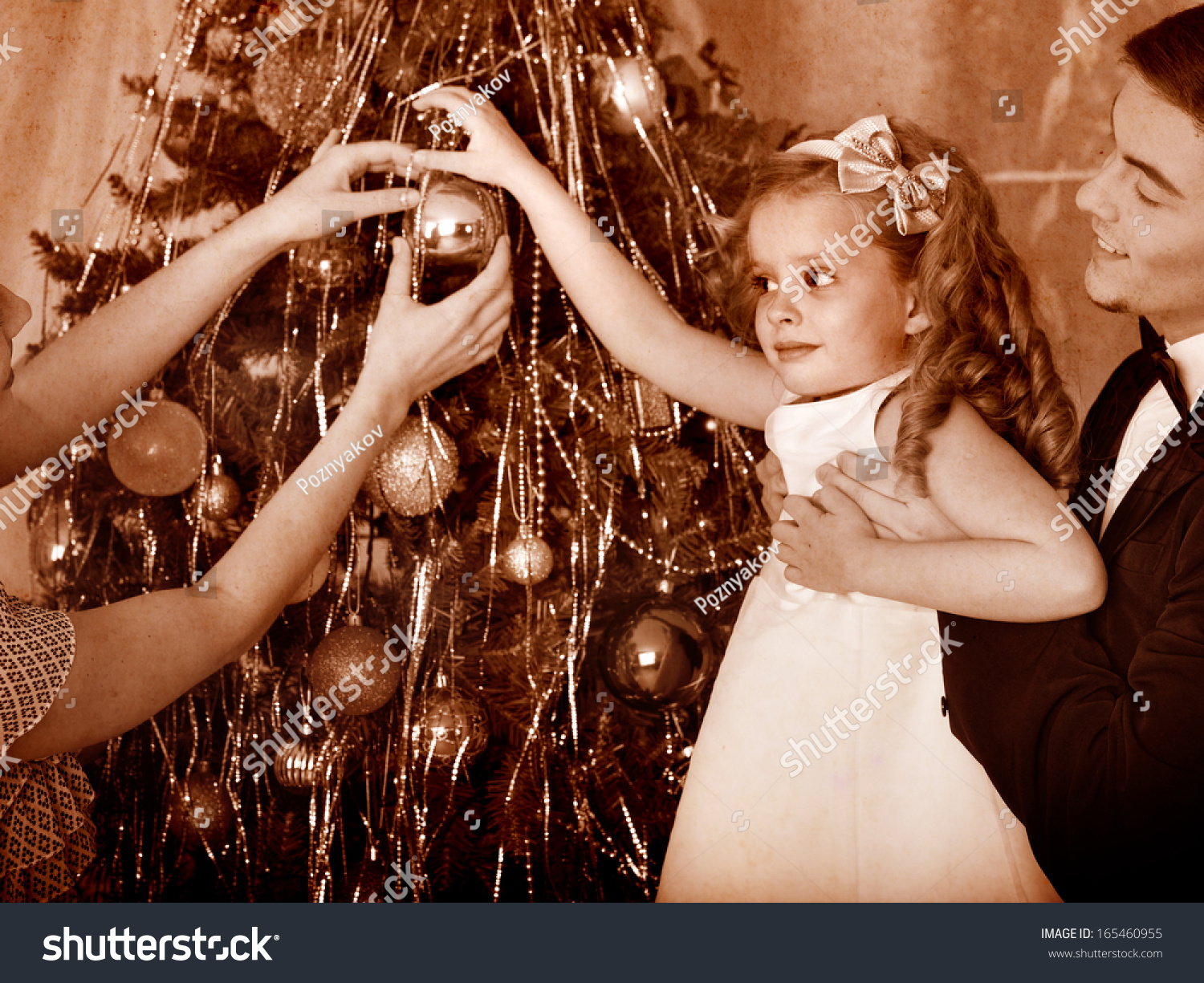 Family Children Dressing Christmas Tree Black Stock Photo