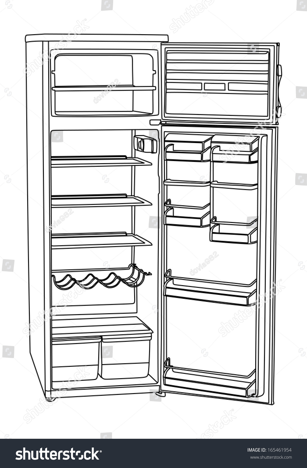 refrigerator coloring page - royalty free open drink refrigerator vector isolated