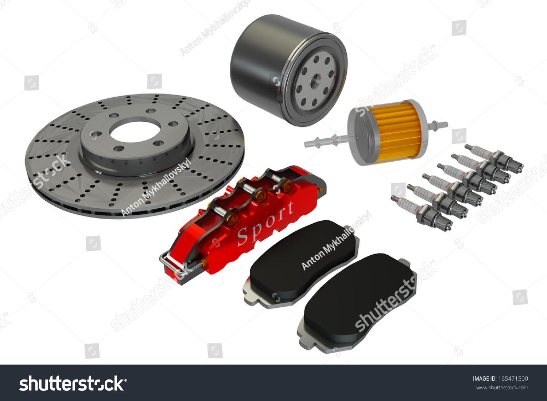 Repair kit, car candles, oil and fuel filter, brake disc pads and suport