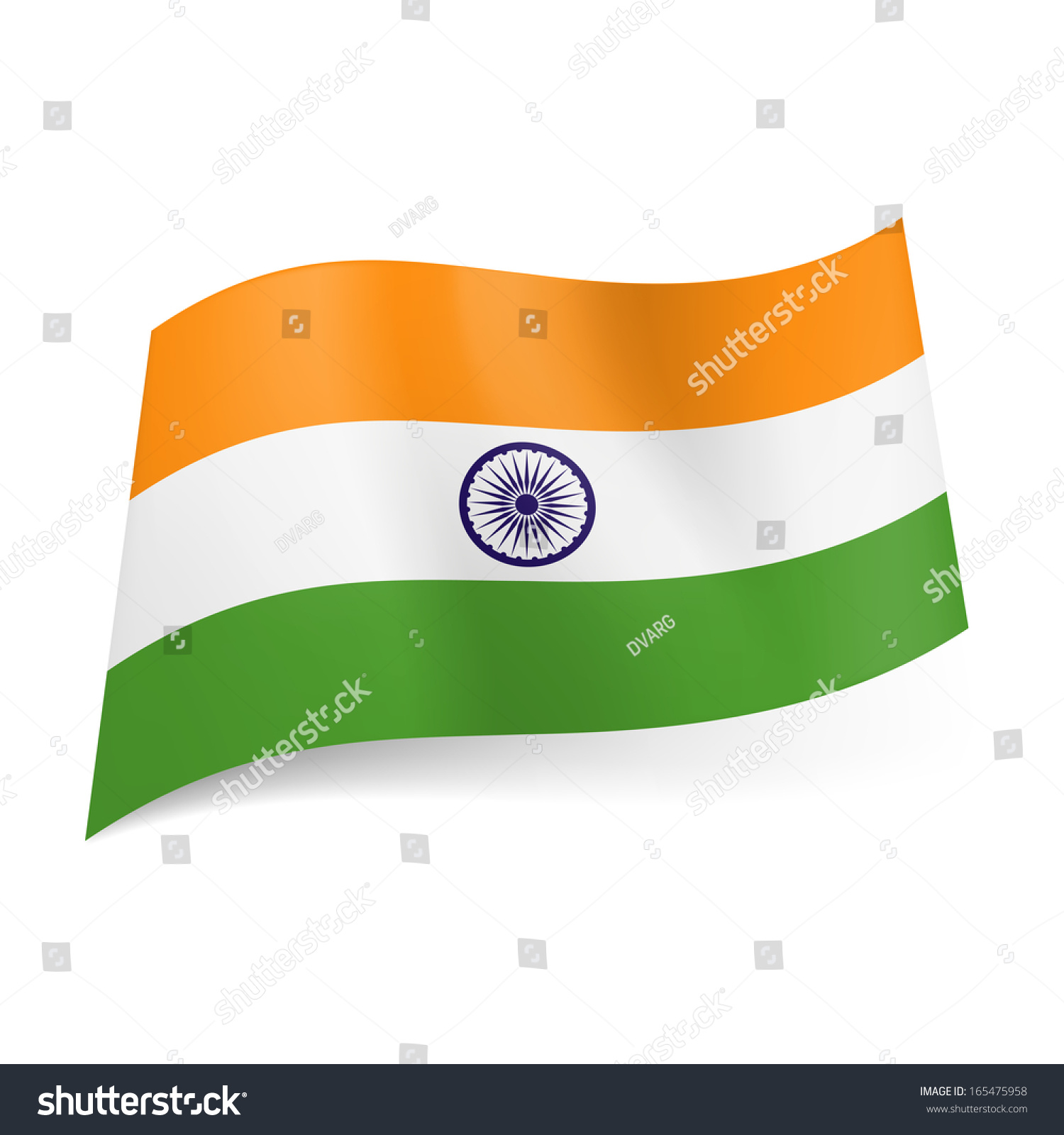 information on national flag of india India's national flag is a horizontal tricolor of deep saffron (kesaria) at the top, white in the middle and dark green at the bottom in equal proportion the ratio of the flag's width to its length is two to three a navy-blue wheel in the center of the white band represents the chakra.