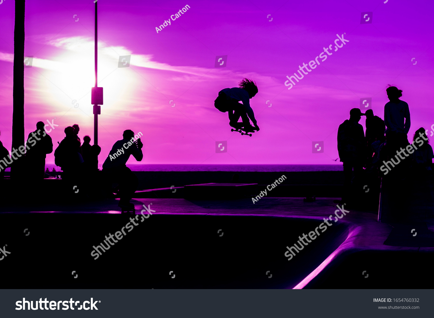 Close Silhouettes Shadows Skaters Purple Sunset Stock Photo Edit Now 1654760332