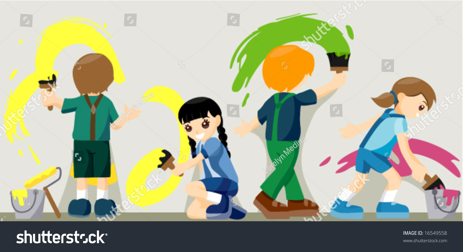 Children Painting Vector Stock Vector (Royalty Free) 16549558 ...
