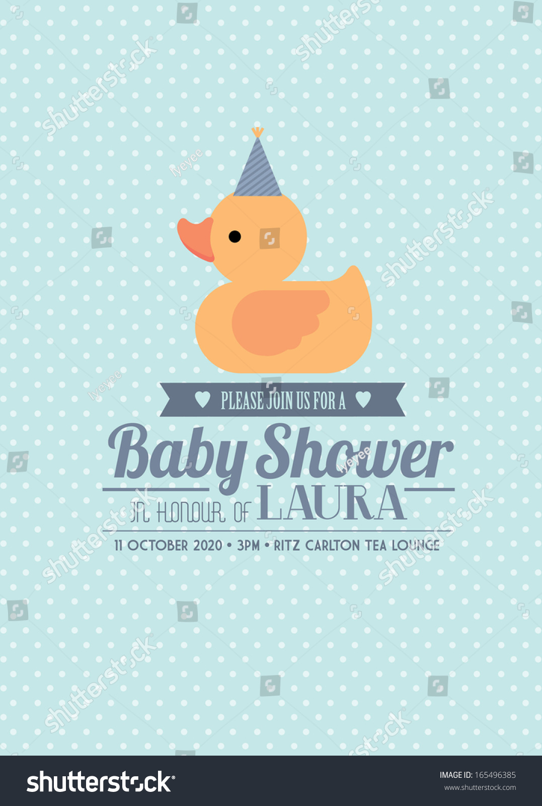 Rubber Ducky Baby Shower Invitation Card Stock Vector 165496385 ...