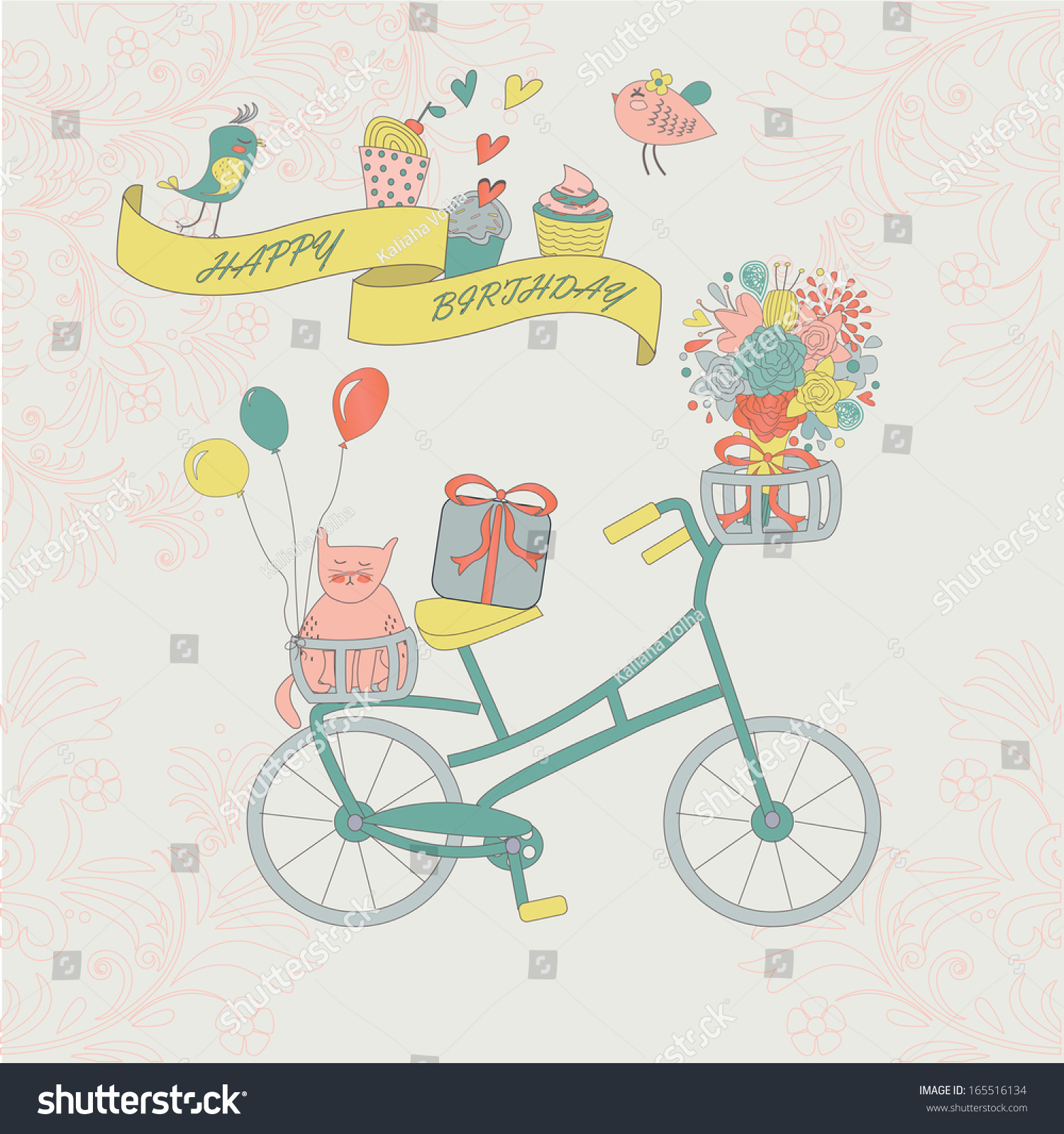 Happy Birthday Greeting Card With Cute Vintage Bicycle Cat Flower And Birds