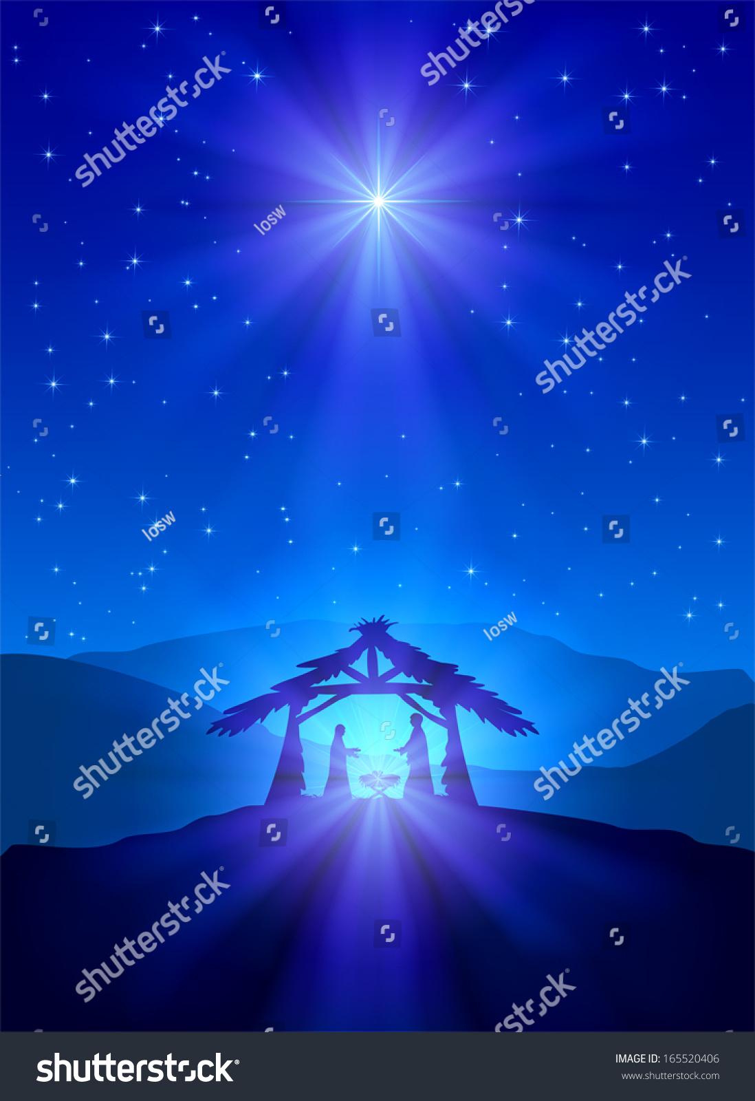 Christian Christmas Night Shining Star Jesus Stock Vector ...