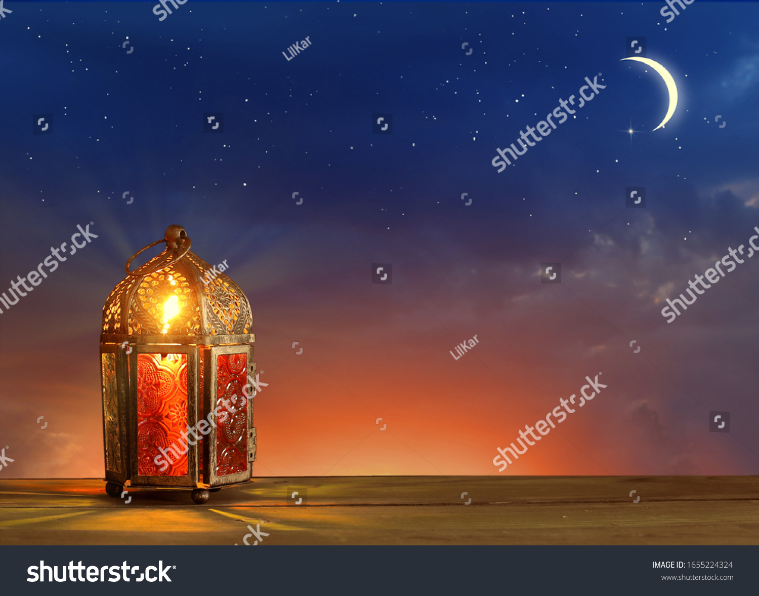 Islamic greeting Eid Mubarak cards for Muslim Holidays.Eid-Ul-Adha festival celebration.Arabic Ramadan Lantern on wooden table.Decoration lamp. Crescent moon and the stars.  #1655224324