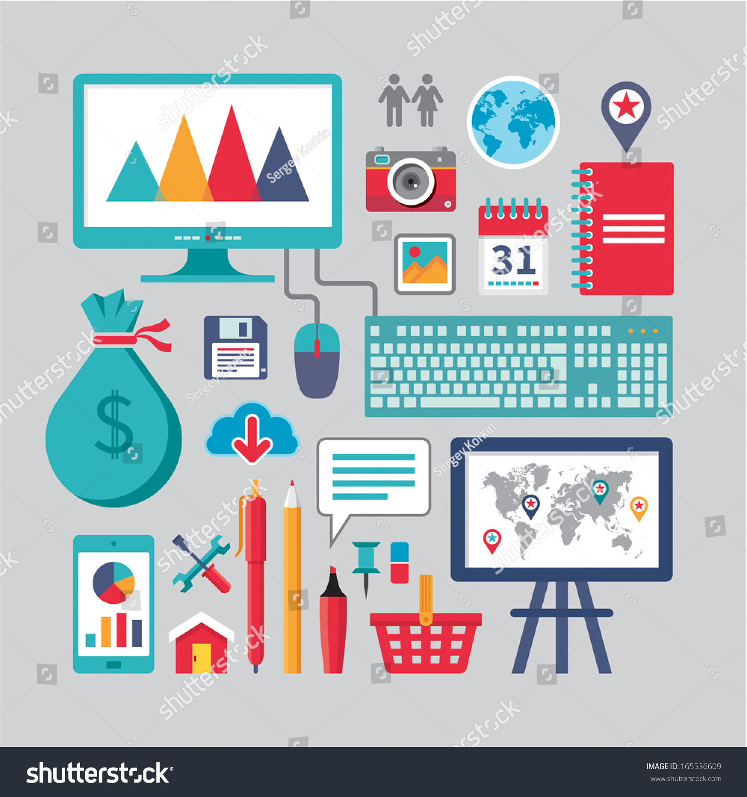 Business Vector Icons Flat Deisgn Style Stock Vector