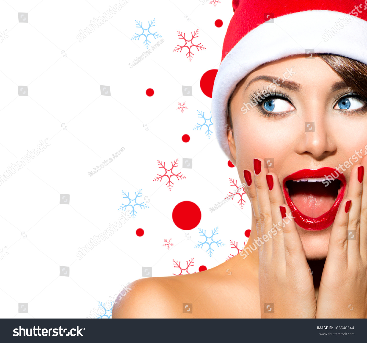 Christmas woman beauty model girl santa stock photo
