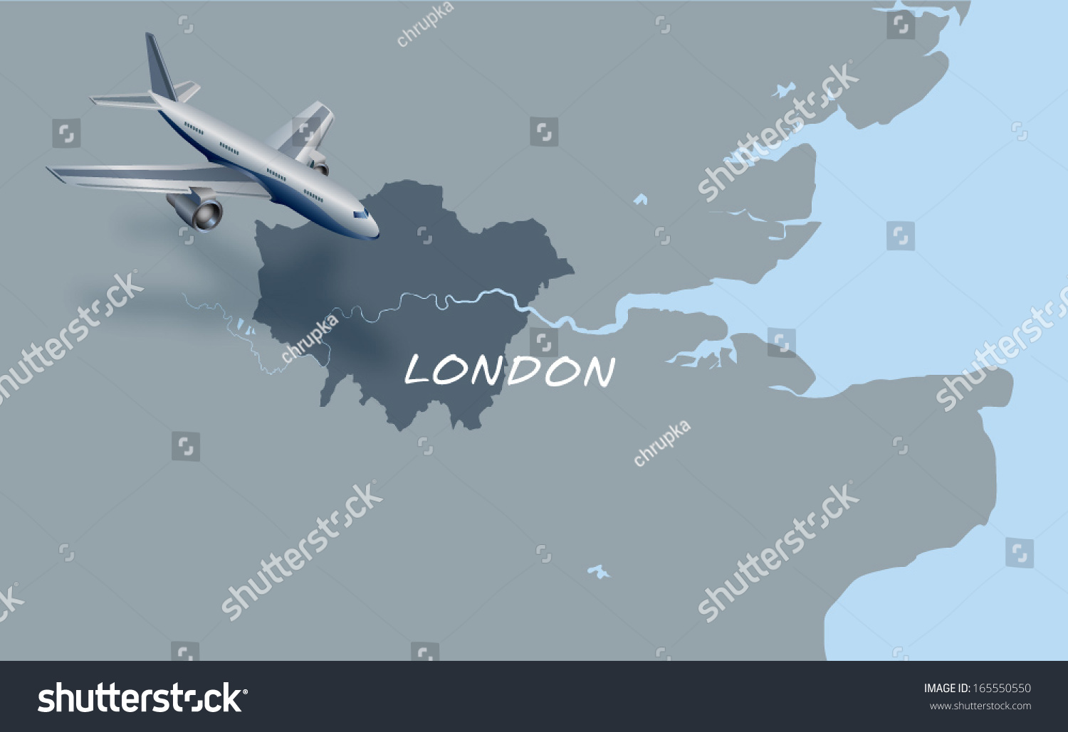 Map Over London.Jet Plane Flying Over Map London Stock Vector Royalty Free 165550550