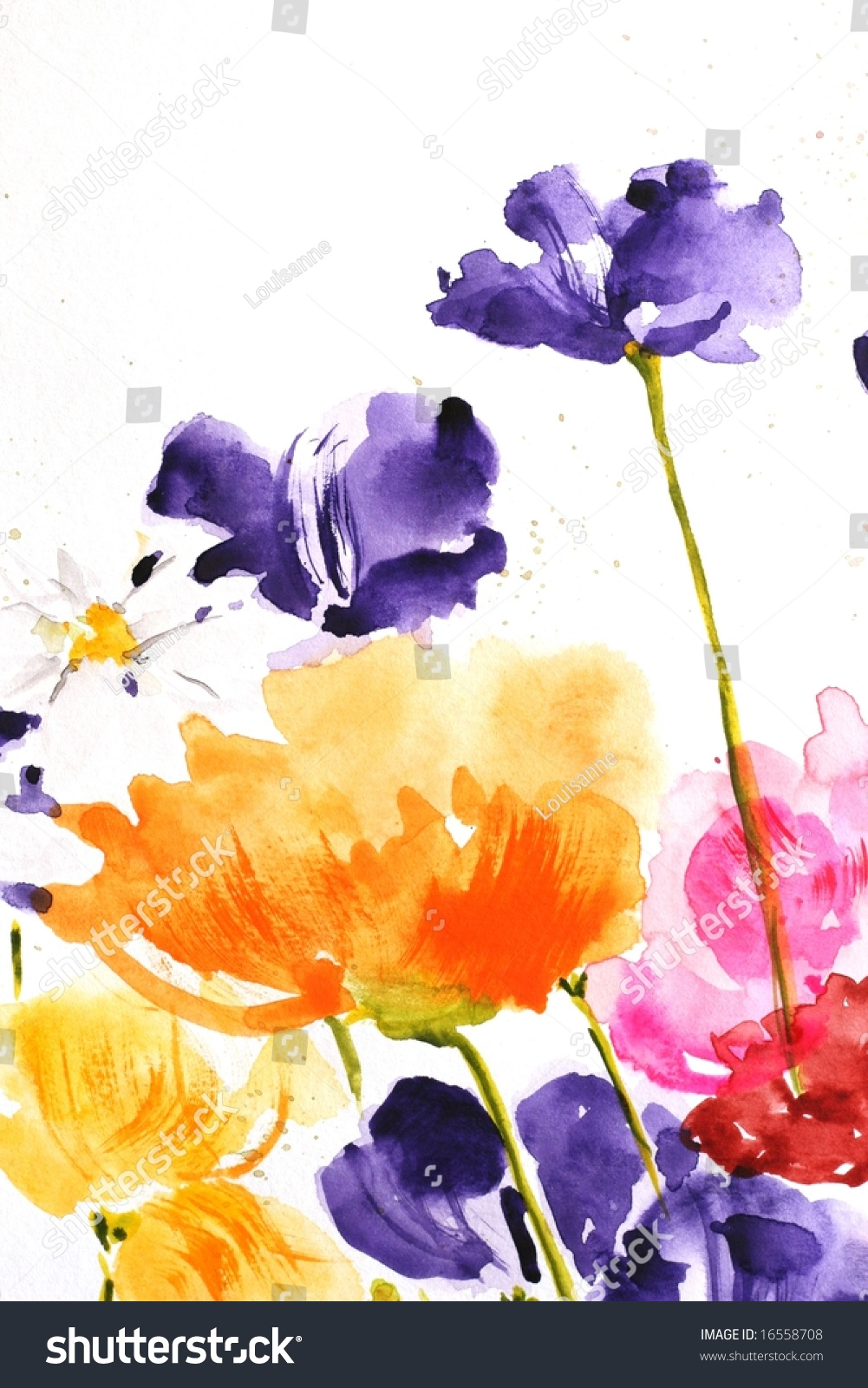Floral summer design handpainted abstract flowers stock for Different painting designs