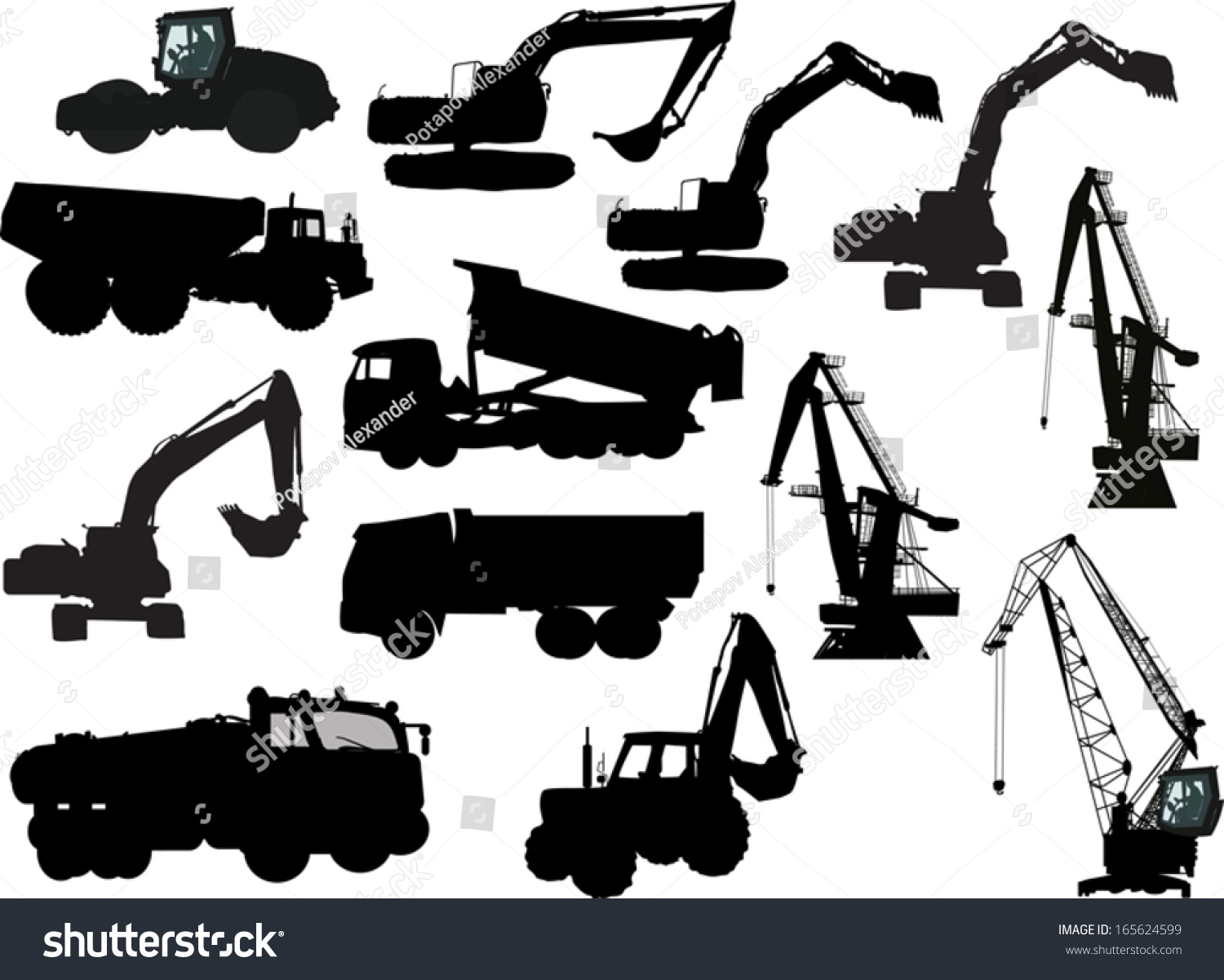 Heavy Equipment Silhouette : Illustration heavy machinery silhouettes isolated on stock