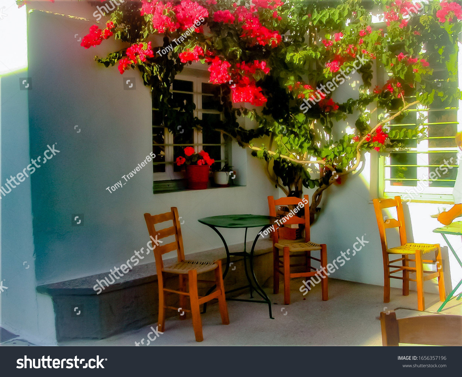 Picturesque and charming traditional greek cafe shop in Sifnos, Greece.