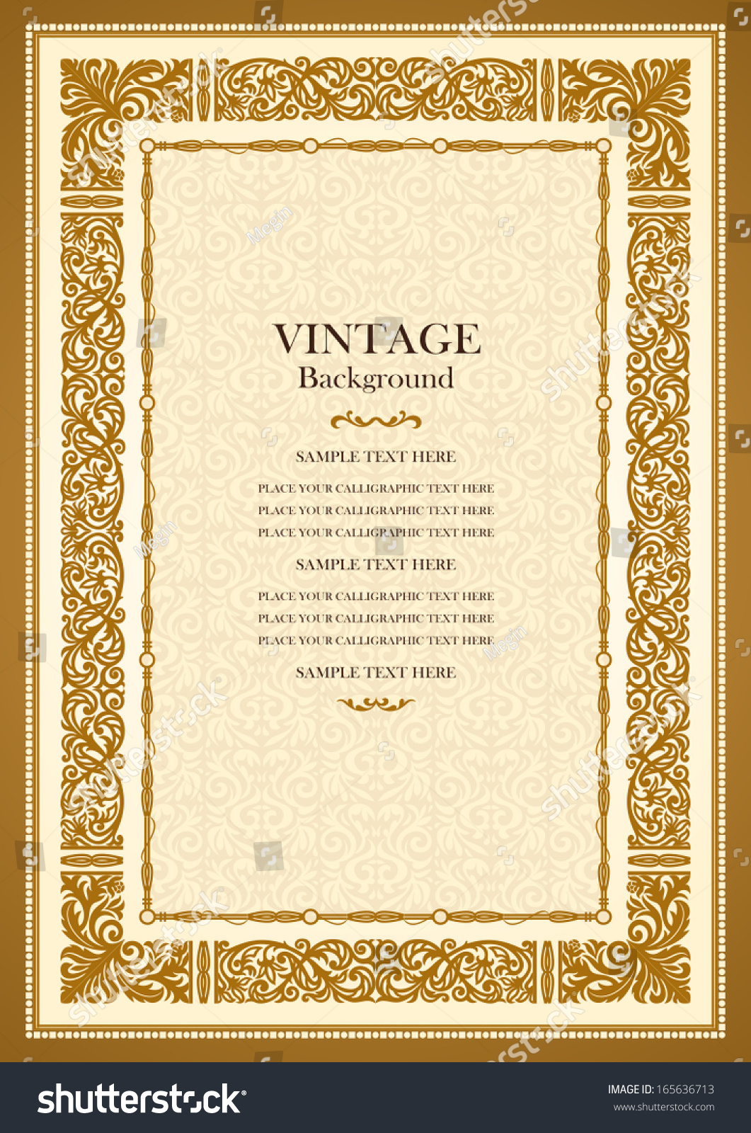 Beautiful Background For Book Cover : Vintage gold background antique style frame stock vector