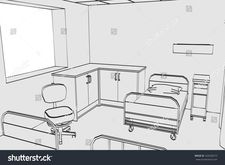 cartoon image hospital room stock illustration 165638273 shutterstock rh shutterstock com Sketch Busy Hospital Hospital Room Drawing
