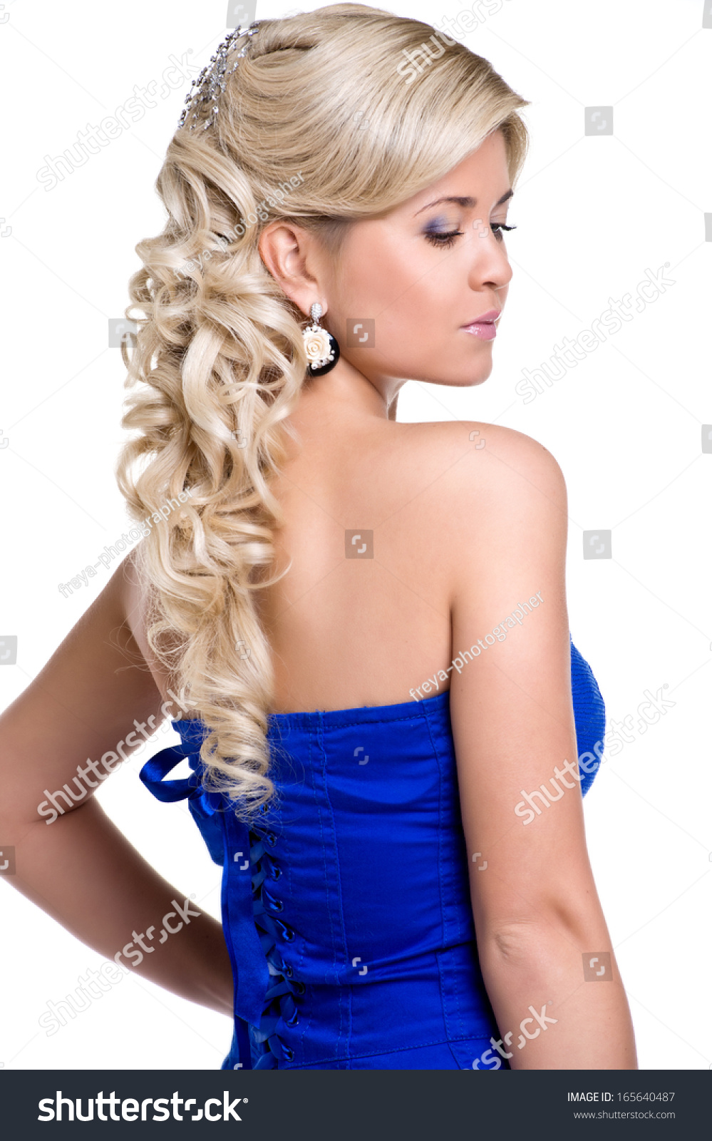 Beauty Wedding Hairstyle Bride Woman Blue Stock Photo Edit Now