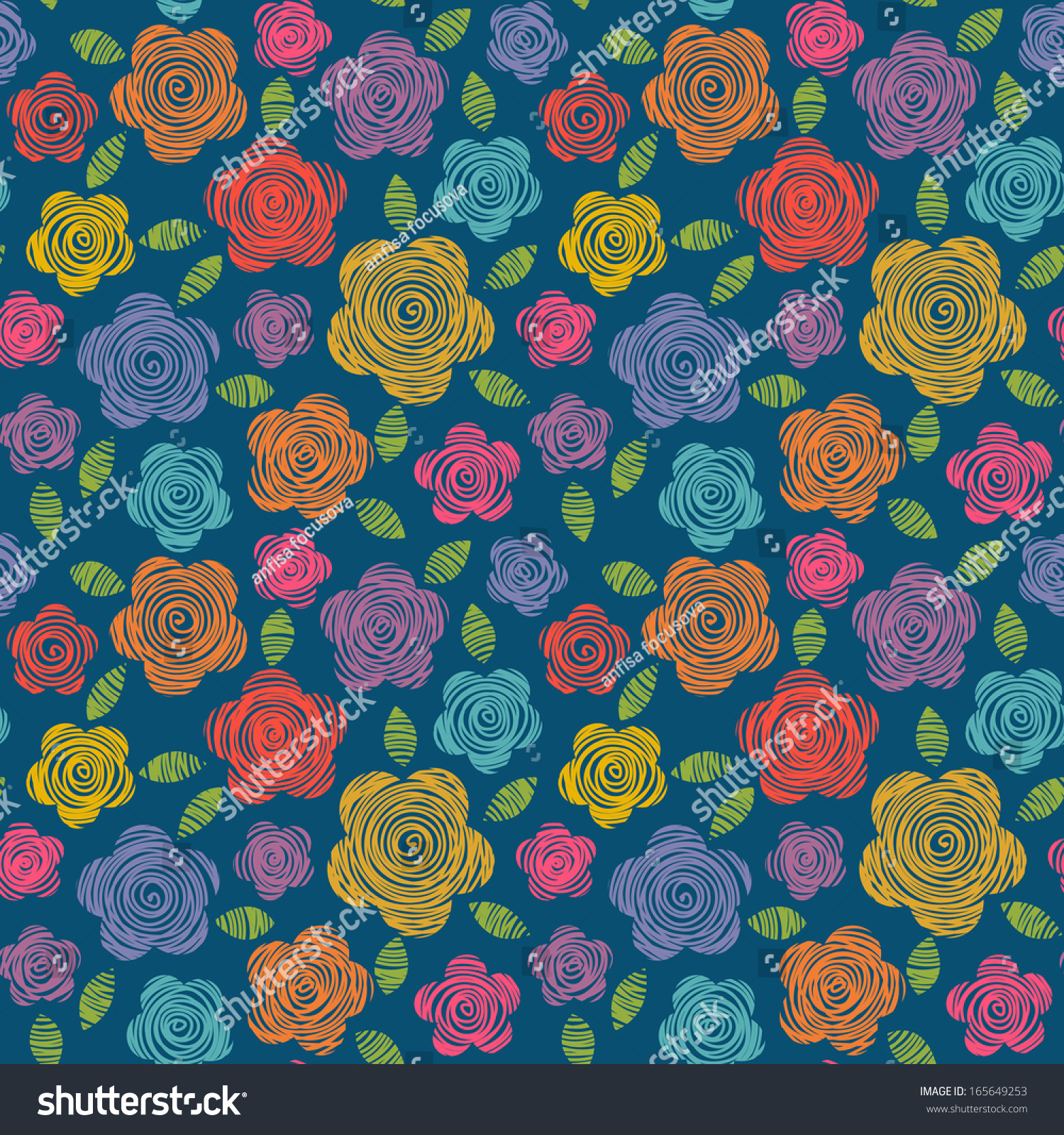 Seamless pattern with flowers leaves of color doodles made using stencil abstract summery simple