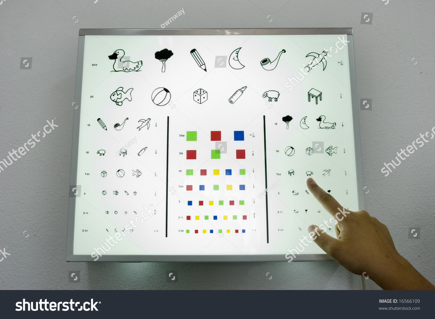 Optometrist finger showing eye chart children stock photo 16566109 optometrist finger showing eye chart for children nvjuhfo Choice Image