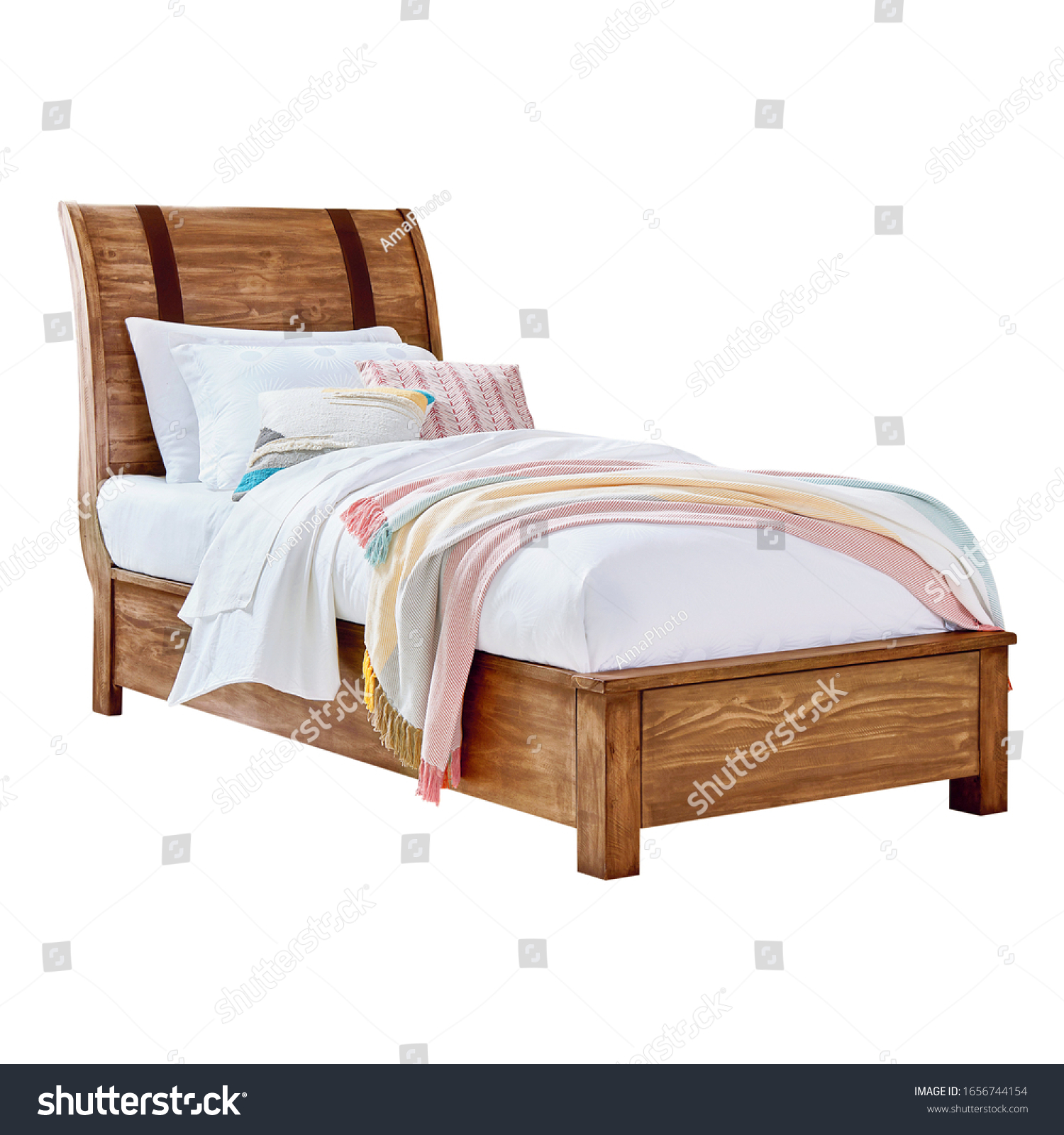 - Wooden Youth Twin Sleigh Bed Isolated Stock Photo (Edit Now