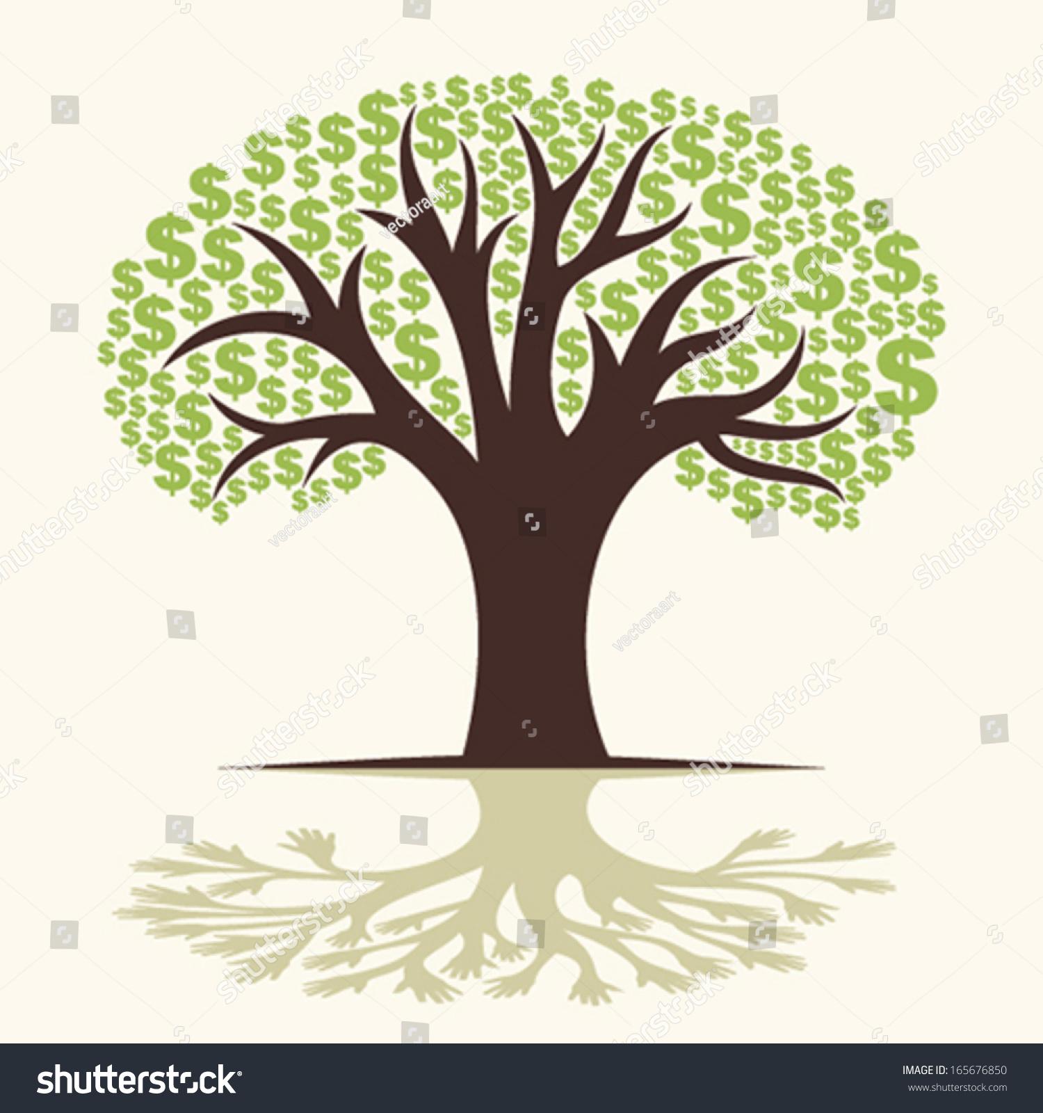 Dollar tree - Dollar Tree Shadow Hand Tree Concept Vector