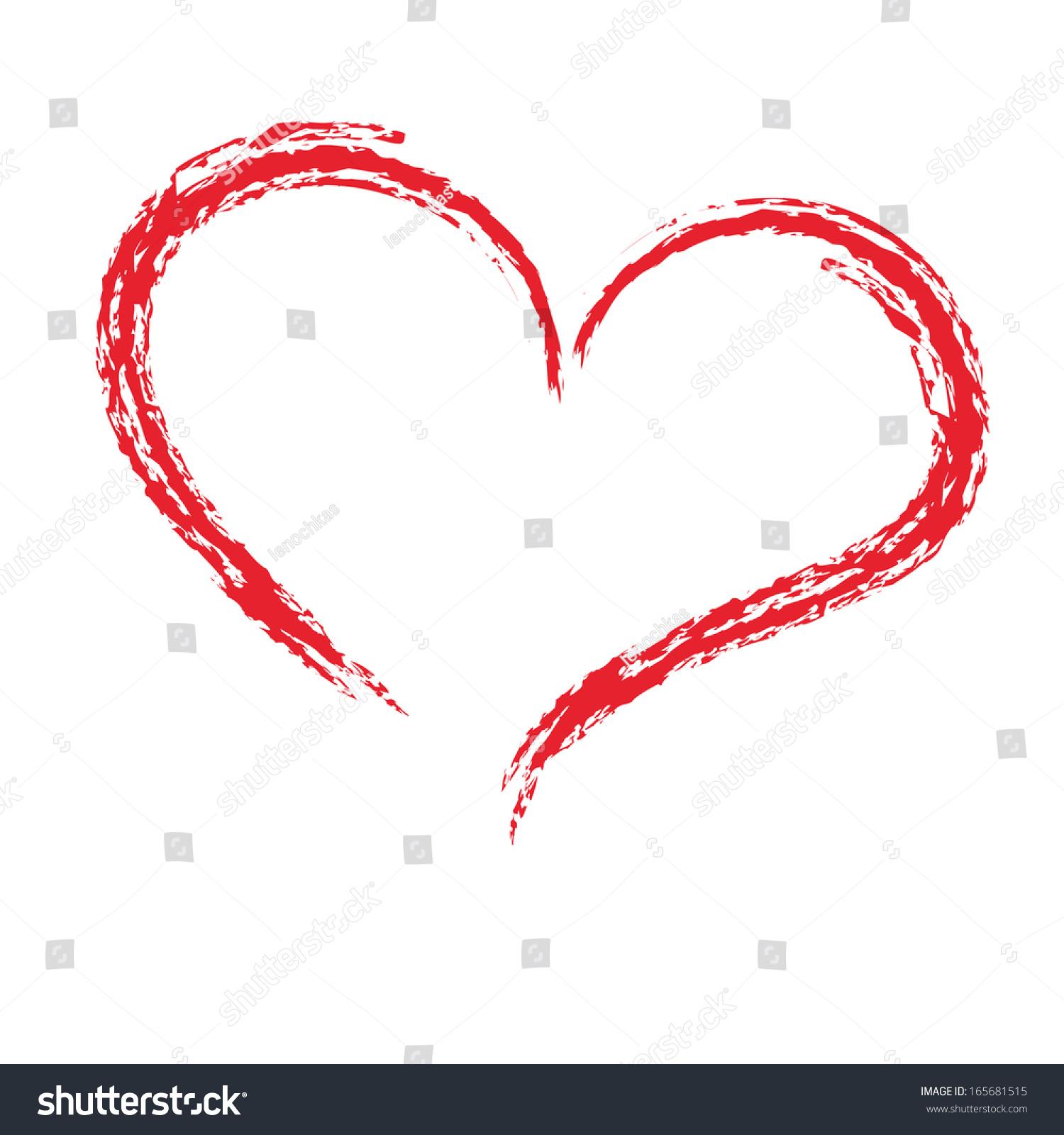 Drawing Brush Shape Heart Love Symbol Stock Vector Royalty Free