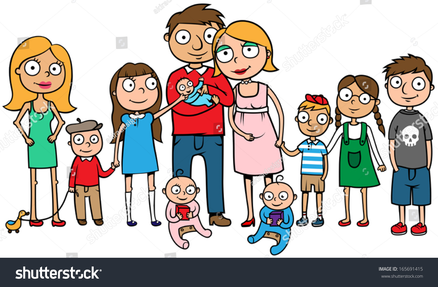 cartoon vector illustration of a large family with many children huge family with ten kids - Cartoon Picture Of Children