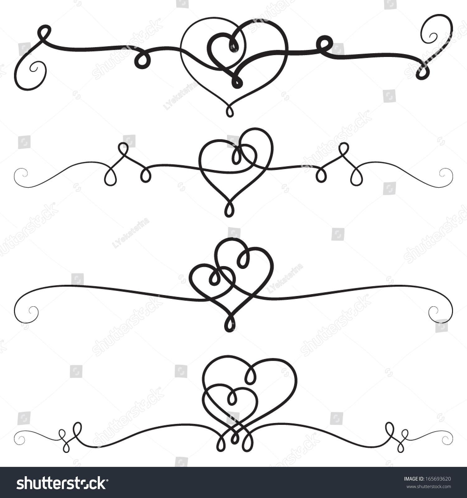 Antique Scroll Line: Decorative Vignettes Hearts Vintage Borders Scrolls
