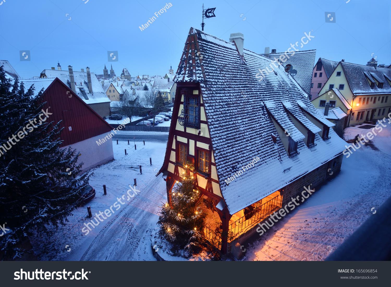 Rothenburg Ob Der Tauber Snow Germany Stock Photo 165696854 ...