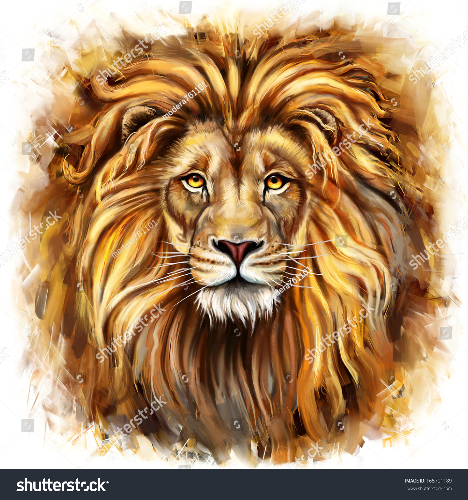 Front Facing Lion Painting