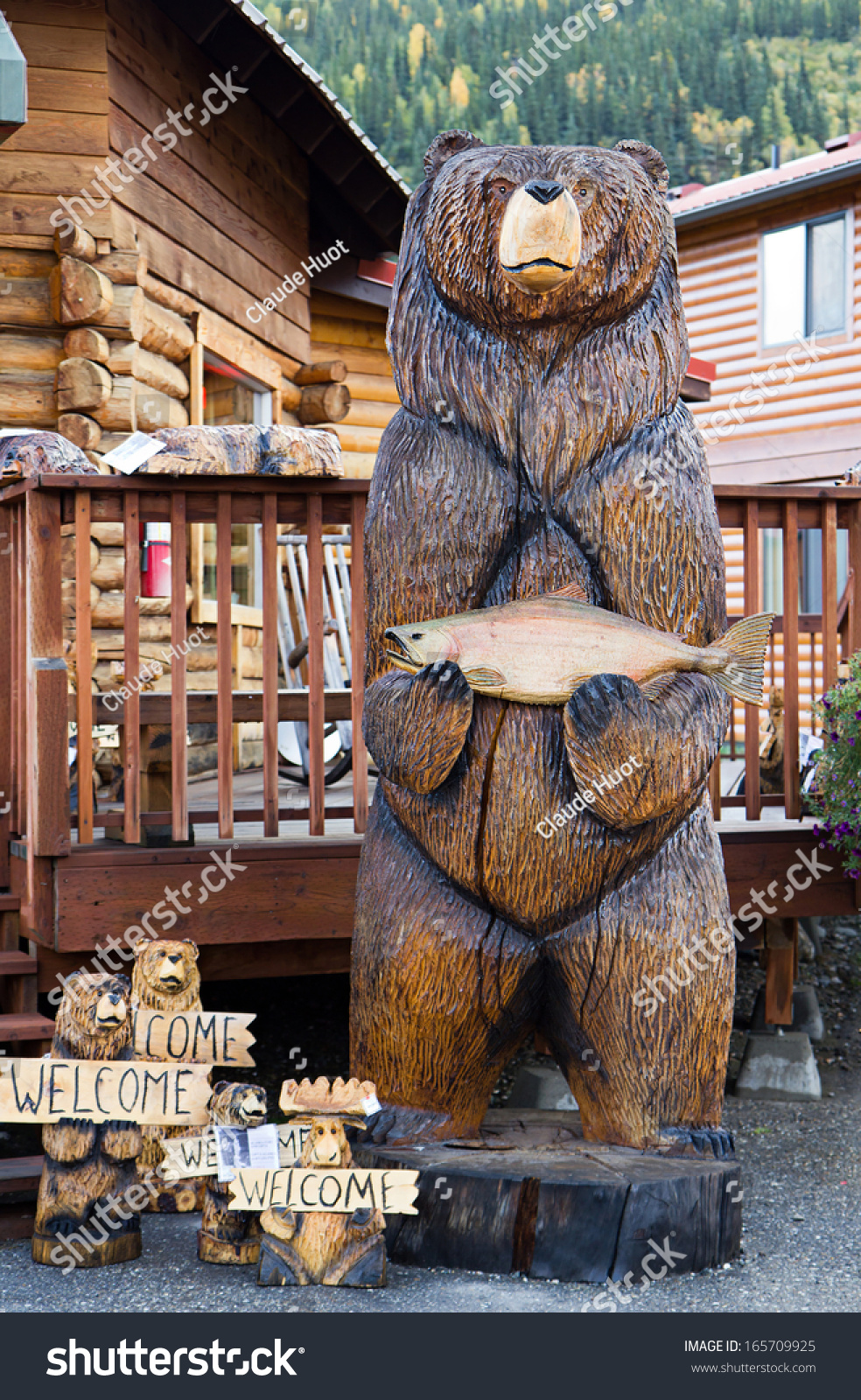 DENALI, ALASKA - SEPTEMBER 12, 2013: Sculptures of grizzly bears on sale at a wilderness lodge in the Denali National Park and Preserve which is a very popular tourist attraction.