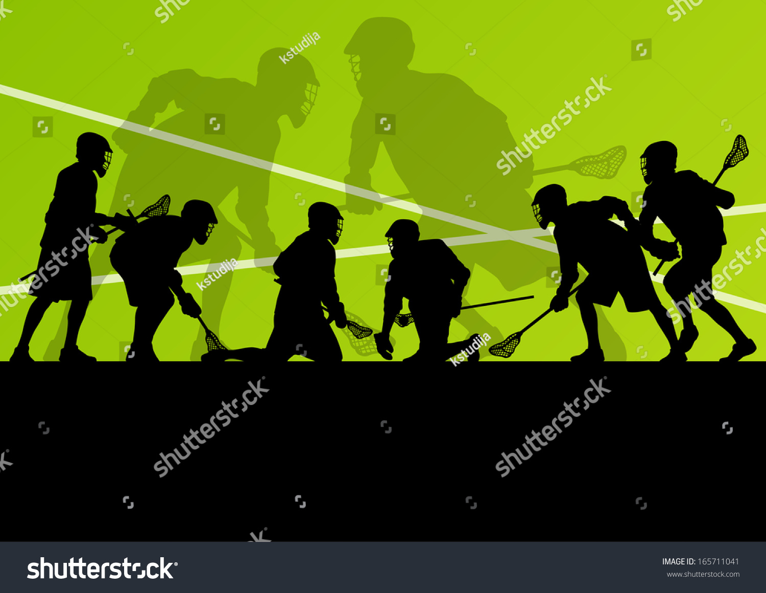 Illustration Abstract Volleyball Player Silhouette: Lacrosse Players Active Sport Silhouettes Vector Abstract