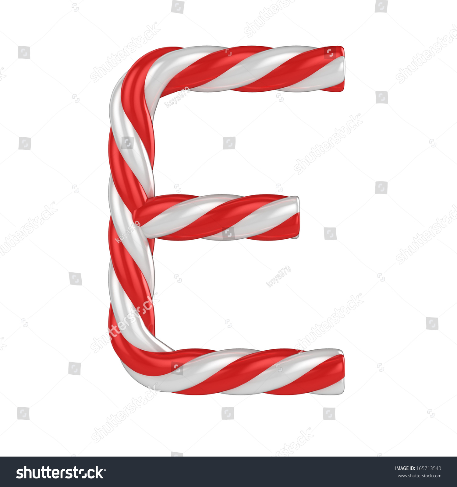 Christmas Candy Cane Font - Letter E Stock Photo 165713540 ...