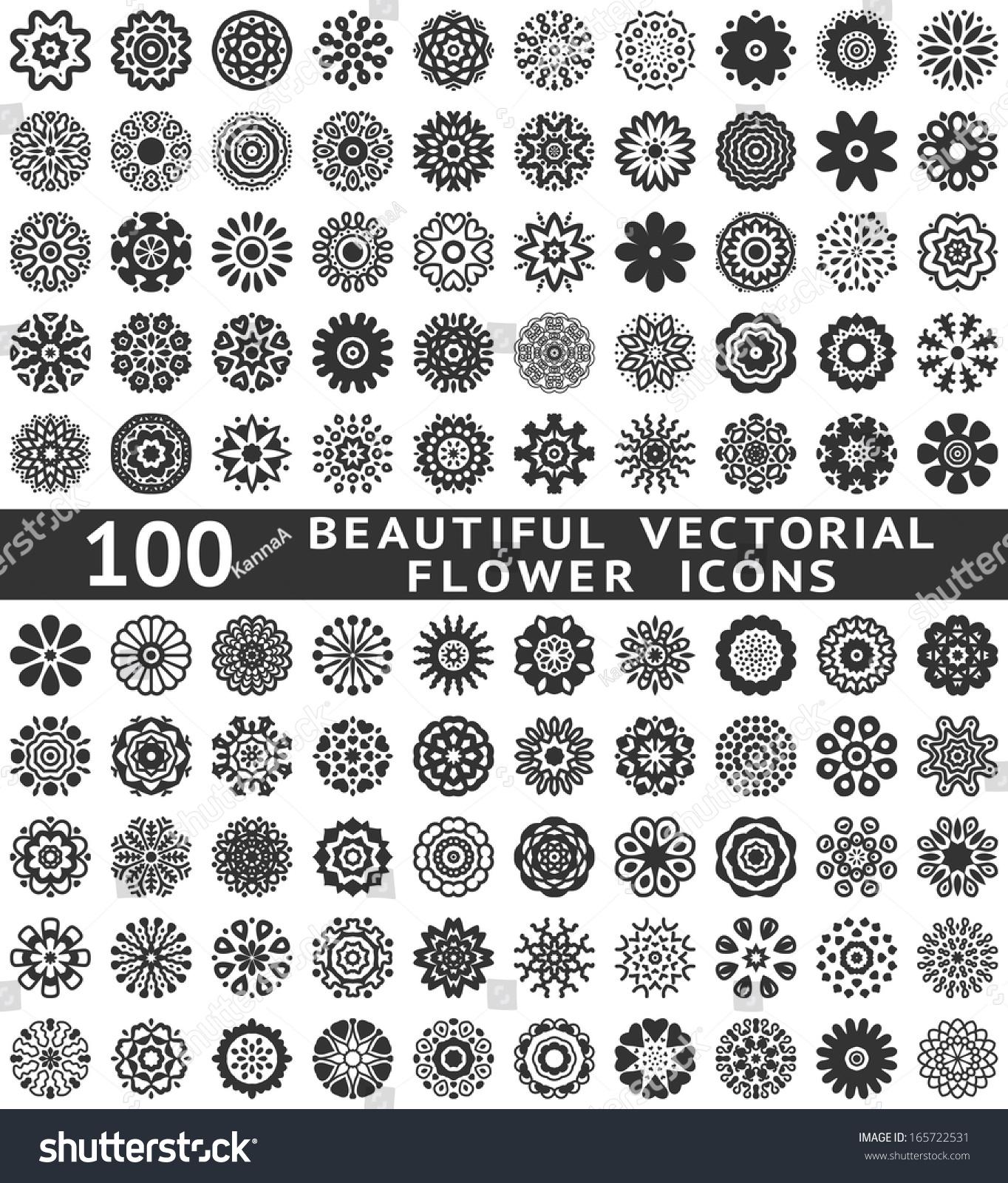 100 Beautiful Designer Bedrooms: 100 Beautiful Abstract Flower Icons Vector Stock Vector