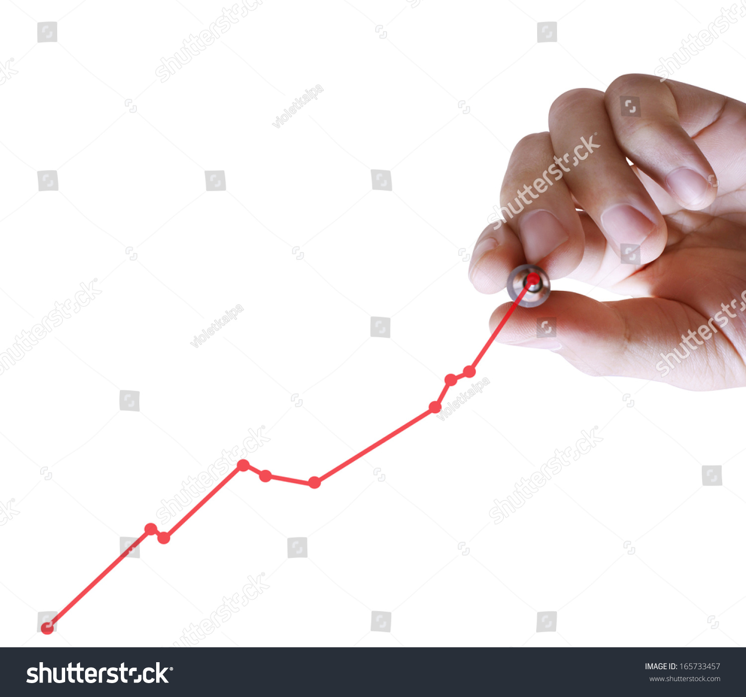 Drawing Line Graphs By Hand : Business man hand drawing graph stock photo
